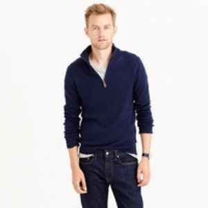 J. Crew Men's Lambswool Half  Zip Sweater- Blue
